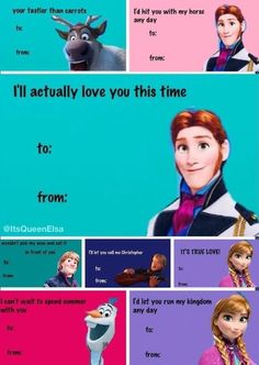 """Frozen funny valentines """"I'd hit you with my horse any day"""" Disney Dream, Disney Love, Disney Frozen, Funny Valentine, Valentine Day Cards, Valentines, Frozen Funny, Singles Awareness Day, Movies And Tv Shows"""