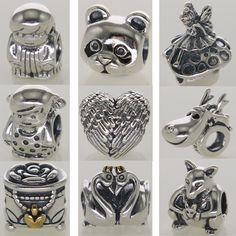 New! Wholesale Silver Charm Hearts Panda Pixie European Charms Silver Beads For Snake Chain Bracelet DIY Fashion Jewelry