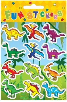 Dinosaur Party Stickers, ideal for party gift bags and favours, a pack of 12 dinosaur stickers from just ten pence each plus postage!