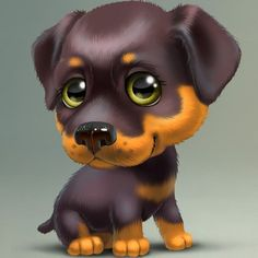 Diamond Painting Cartoon Rottweiler Kit Offered by Bonanza Marketplace. Cute Baby Dogs, Cute Little Dogs, Cute Babies, Rottweiler, Cute Animal Drawings, Cute Drawings, Baby Animals, Cute Animals, Cross Paintings