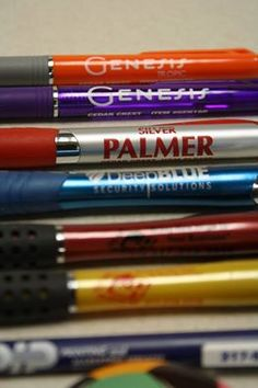 Promotional pens created for a variety of clients  www.pipmetroindy.com Art Supplies, Office Supplies, Promotional Pens, Create, Products, Gadget