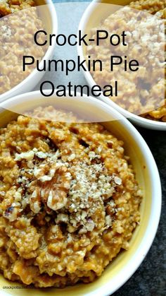 """Crock-Pot Pumpkin Pie Oatmeal - Warm up to a hearty bowl of this delicious Crock-Pot Pumpkin Pie Oatmeal first thing in the morning. Steel cut oats are slow cooked with pumpkin, spices and a little vanilla extract for a breakfast that makes you say """"yum"""". [recipe from CrockPotLadies.com]"""
