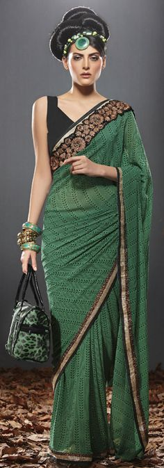 Green blended georgette saree Laxmipati Sarees, Georgette Sarees, Indian Sarees, Saris, India Fashion, Asian Fashion, Indian Dresses, Indian Outfits, Saree Blouse Patterns