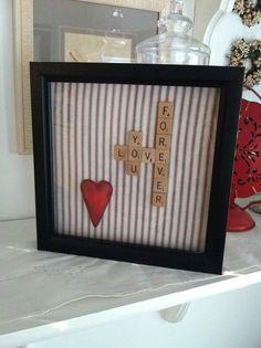 Framed scrabble heart valentine decor by jtjujubees on Etsy, $18.00