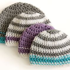 Crochet beanies are a classic crafter& project. This Striped Easy Beanie Crochet Pattern is simple and quick. Worked up in two to three colors, this free crochet pattern is the perfect winter gift. This project is best made with a soft, warm yarn. Crochet Cap, Crochet Baby Hats, Crochet Beanie, Love Crochet, Crochet Scarves, Simple Crochet, Crocheted Hats, Double Crochet, Booties Crochet