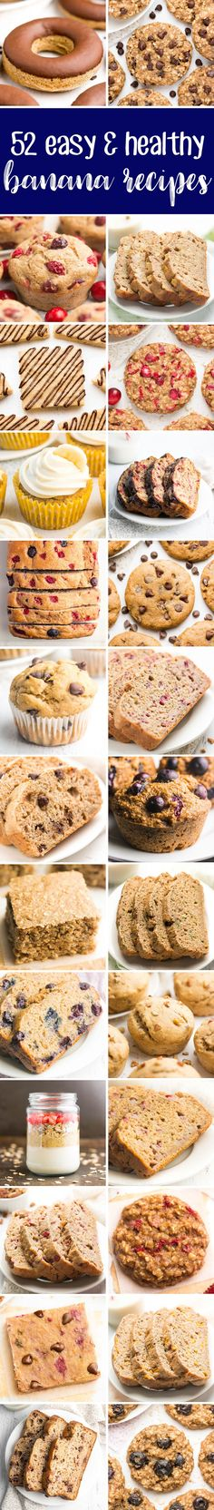 52 Easy & Healthy Banana Recipes -- all made with NO artificial ingredients, refined flour or sugar! And they taste AMAZING! I make at least one of these recipes every week! #healthy #banana #baking #recipes #cleaneating