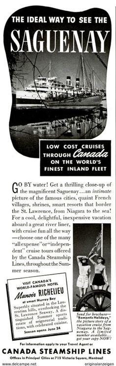 USA : Original - Anzeige / Advertise 1939 (ENGLISH) - SAGUENAY / CANADA STEAMSHIP LINES - Ca. 65 X 220 Mm - Werbung