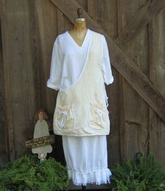 linen tunic smock apron in ivory with white trim by linenclothing, $99.00