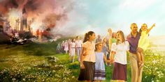 Sobrevivientes de Armagedón salen ilesos de la destrucción; al fondo se ve el humo de la destrucción ascendiendo