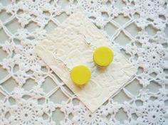 Earrings yellow liquorice allsorts round polymer by poppyshome