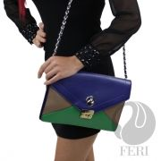 FERI LUCY Part of the Day to Day collection - Bicast leather - Blue, Green and Tan colour Clutch - Chain strap with accent of the Clutch worked into it. - Multiple compartments - Fabric lining - Dimensions: x Good Luck To You, Green Fashion, Fashion Photo, Galleries, Blue Green, Shoulder Bag, Colour, Purses, Chain