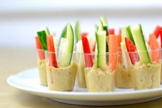 hummus and veggies in shot glass- great for parties