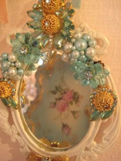 Vintage Jeweled Hanging Mirror- I would love to do this on a hand held mirror as well!!