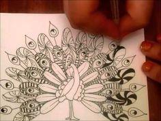 Peacock Zentangle - YouTube Art Ed Central loves!