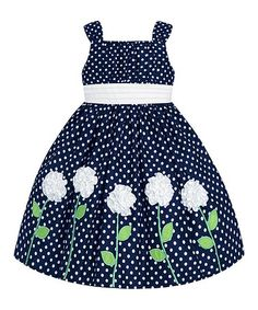 Love this Navy & White Polka Dot Floral Dress - Girls on #zulily! #zulilyfinds