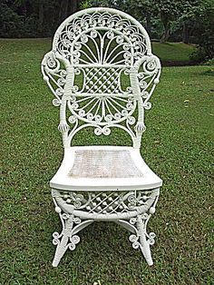 Rare and Ornate Antique Victorian Wicker Reception Chair Heywood Brothers and…