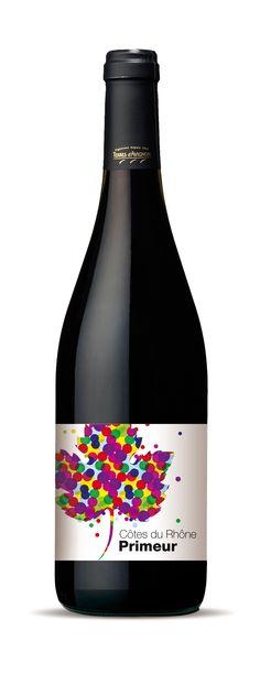Création de l'étiquette de vin primeur Côtes du Rhône (client : Terres d'Avignon)