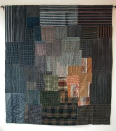 Hanging made from old Japanese zokin, hand stitched. I love the burst of brightness emerging from the muted tones.