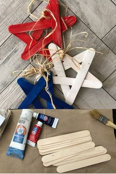 DIY Fourth Of July Star Banner - With Fourth of July right around the corner, get your home decor ready with this simple diy project. Kids Crafts, Crafts For Seniors, Summer Crafts, Craft Stick Crafts, Toddler Crafts, Holiday Crafts, Craft Projects, Project Ideas, Decor Crafts