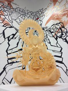 "This is Japanese Contemporary art.  3D printed contemporary Buddhism statue by Taketo Kobayashi.  Wall painting by Sense & Tadaomi Shibuya.  Shown@ Aomori Museum of Art.  ""ARTs of JOMON in AOMORI"""