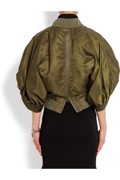 Army-green satin Padded, oversized dolman sleeves, ruched cuffs, front slit pockets, zipped back, fully lined Two-way zip fastening through front 100% polyamide; trim: 97% polyamide, 3% elastane; padding: 100% polyester; lining: 60% acetate, 40% viscose Dry clean Made in Italy