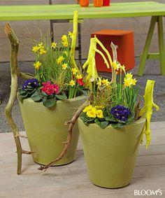 Frühlingsblumen in Kübel und Schale: Kübel mit Narzissen, Primeln und aufgestelzten Zweigen
