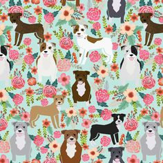 pitbull pit bull terriers cute dogs dog sweet animals florals mint dog pets fabric by petfriendly on Spoonflower - custom fabric Pitbull Terrier, Terrier Dogs, Bull Terriers, Wallpaper Pitbull, Dog Wallpaper Iphone, Perros Pit Bull, American Pit Bull Terrier, Dog Belt, Pitbulls