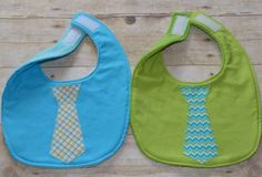 Set of Two Little Buddy Tie Bibs by sallyscrafts1 on Etsy