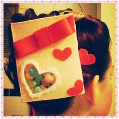 Homemade felt Sweethearts box hair accessory. Asthecurlturns.com Facebook.com/victoryroll