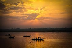 Sunset on the Ganges river, Varanasi - http://worldlynomads.com/index.php/varanasi-india/