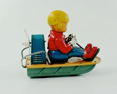VINTAGE TRADE MARK MODERN TOYS (JAPAN) TIN LITHO FRICTION AIRBOAT W/BOY NR | eBay