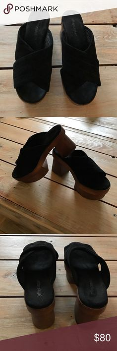 Jeffrey Campbell Platforms So comfortable and go great with everything! Wood bottom and leather upper. Only worn a couple times. Jeffrey Campbell Shoes Platforms
