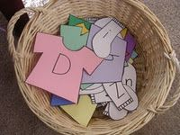 """Hanging laundry letters on the """"line"""" great game to practice letters and matching capitals with the lower case!"""