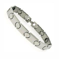 "Silver Tone Stainless Steel Stampato Bracelet 7.25"" DiamondMist. $18.75"