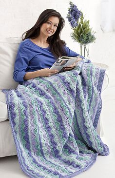 Summer Mist Throw, a free crochet pattern from Caron.com. A lovely display of some of my favorite colors.