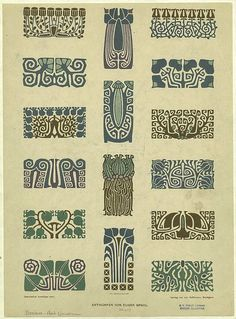 "This could potentially be tattoo inspiration…although I was leaning more towards art deco… brandyzzyzx: "" Art Nouveau Foral Border Designs Artist - Eugen Gradl Engraver - Emil Hochdanz Motifs Art Nouveau, Design Art Nouveau, Motif Art Deco, Art Nouveau Pattern, Art Design, Design Patterns, Art Nouveau Pintura, Arte Art Deco, Jugendstil Design"