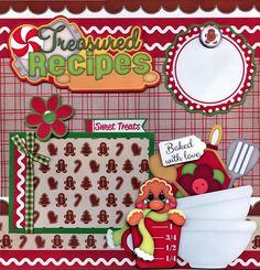 CHRISTMAS TREASURED RECIPES 2 premade scrapbook pages paper piecing ~ BY CHERRY #BowlFullofCherriesScrapbooking