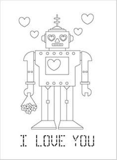 Valentine Coloring, Robo I Love You Valentine Coloring Page: robo i love you valentine coloring page