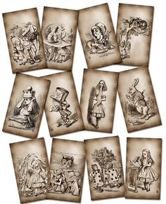 Vintage Alice in Wonderland Printables | Alice In Wonderland- PRiMiTiVE GRuNGED Vintage Art Tags/Cards ...