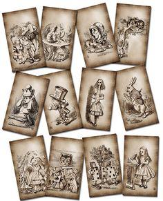Alice In Wonderland- PRiMiTiVE GRuNGED Vintage Art aGEd Tags- Printable Collage Sheet JPG Digital File-Buy ONe Get ONe FREE