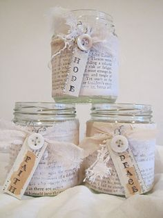 Recycled jam jars wrapped in vintage paper,, buttons, lace and an ink stamed tag