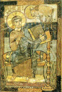 Vangeli di godescalco (evangelista luca), Ms. Lat 1203 f. 1r. 21x31 cm, parigi bibliotheque nationale, 783 circa - Storia della miniatura - Wikipedia