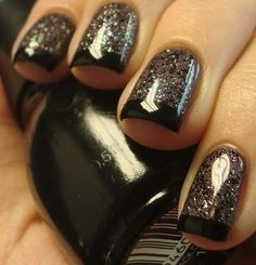 Sparkly Black French Tip ... very cool. - hair-sublime.com