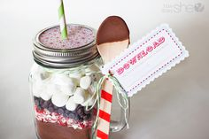 """#33 Neighbor Gift Idea: Hot Chocolate in a Jar with FREE printable! Also download """"Have yourself a Merry Little Christmas"""" for $1 (100% to hurricane Sandy victims).  