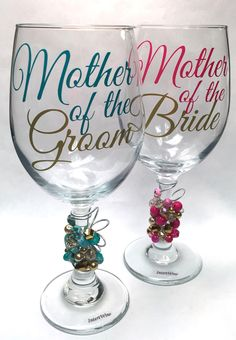 Wedding glasses for Mothers of the Bride and Groom A personal favorite from my Etsy shop https://www.etsy.com/listing/273371238/mother-of-bridegoom-wine-glass