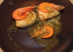 Lombos de pescada com camarão
