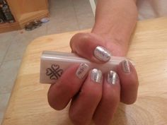 Layered Chrome and white lace. www.originelle.jamberrynails.net