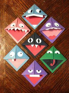 Origami monster bookmark piece of paper - Salvabrani Bookmark Craft, Diy Bookmarks, Corner Bookmarks, Origami Bookmark, Diy Marque Page, Marque Page Origami, Adult Crafts, Easy Crafts, Art Adulte
