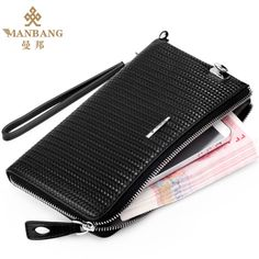 Guaranteed 100% + Genuine leather clutch wallets MBS12070,Designer Handbags +Famous brand Manbang + Free shipping $159.80