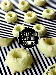 Maybe I will actually brake out my donut pan!-Mini Pistachio Almond Donuts - Taste like mini petit four donuts! Mini Donuts, Baked Donuts, Doughnuts, Homade Donuts, Powdered Donuts, Köstliche Desserts, Delicious Desserts, Dessert Recipes, Yummy Food
